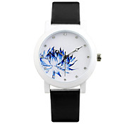 Women's Men's Fashion Watch Quartz Automatic self-winding Water Resistant / Water Proof Leather Band Black White