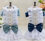 Other Dress Dog Clothes Cute Casual/Daily Wedding Princess Light Blue Dark Blue