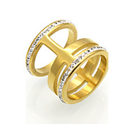 New Fashion 3 Circle Cubic Zirconia Personality Brand Design 316L Stainless Steel  Rings For Women