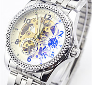 Men's Skeleton Watch Fashion Watch Mechanical Watch Automatic self-winding Water Resistant / Water Proof Alloy Band Silver