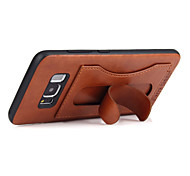 Fierre ShannL® For Samsung Galaxy S8 Plus S8 Card Holder with Stand Case Back Cover Case Solid Color Other Hard Genuine Leather