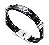 Men's ID Bracelets 316L Stainless Steel Fashion Hip-Hop Rock Silicone Titanium Steel Circle Round Jewelry For Birthday Gift Sports Christmas Gifts