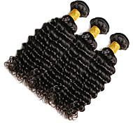 Full Head 300g/3pcs Deep Wave 10-20Inch Natural Black Human Hair Weaves