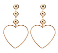 Hot Fashion Simple Elegant Charm Plated Gold/Silver Hollow Heart Pendant Earrings For Women Dangle Long Earrings Jewelry Accessories Gift Bijouterie