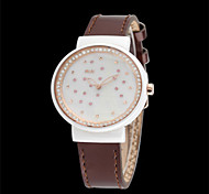 Women's Fashion Watch Quartz Leather Band Brown Pink