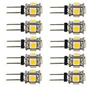 1.5W Luci LED Bi-pin T 5 SMD 5050 90 lm Bianco caldo Bianco Decorativo DC 12 V 10 pezzi
