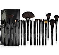 MAKE-UP FOR YOU® 32pcs Professional Cosmetic Black Rod Makeup Brushes Set Kit with Black Bag