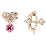 Stud Earrings Drop Earrings New Mismatching Asymmetry Earrings Fashion Crystal Champagne Cupid's Arrow Shape For Women Party Wedding Gift Jewelry