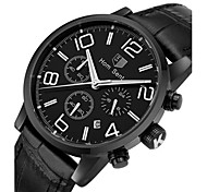 Men's Fashion Watch Wrist watch Quartz Leather Band Black