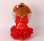 Собака смокинг Одежда для собак Свадьба Новый год Пайетки Красный Розовый