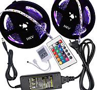 Hkv® 10 м (2 * 5 м) 5050 300led полоса прожектора 24g пульт дистанционного управления 5a блок питания переменного тока 100-240v