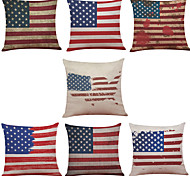 Set of 7 American Flag Pattern Linen  Cushion Cover Home Office Sofa Square  Pillow Case Decorative Cushion Covers Pillowcases