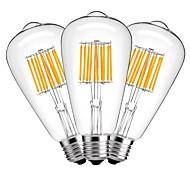 10W LED лампы накаливания ST64 10 COB 1000 lm Тёплый белый Декоративная AC 220-240 V 3 шт.