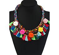 Жен. Ожерелья-бархатки Ожерелья с подвесками Заявление ожерелья Геометрической формы Сплав Металлический сплав Цветочный принт Богемия
