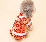 Собака Плащи Одежда для собак Новый год Цветочные / ботанический Белый Черный