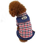 Собака Комбинезоны Одежда для собак На каждый день В клетку Кофейный Красный сетка