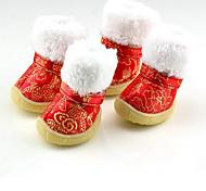 Собака Ботинки и сапоги Сохраняет тепло Новый год Цветочные/ботанический Красный Синий Розовый