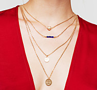 Жен. Слоистые ожерелья Круглой формы В форме сердца Позолота Сплав Сердце Многослойный Мода бижутерия Бижутерия Назначение Повседневные