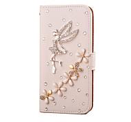 Для Кейс для  Samsung Galaxy Бумажник для карт / Стразы / Флип Кейс для Чехол Кейс для Мультяшная тематика Искусственная кожа SamsungS7