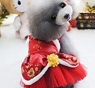 Собака Комбинезоны Одежда для собак Новый год Вышивка Лиловый Красный