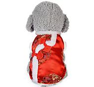 Собака Жилет Одежда для собак Новый год Цветочные/ботанический Красный