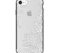 Назначение iPhone 7 iPhone 7 Plus Чехлы панели Ультратонкий Прозрачный С узором Задняя крышка Кейс для Кружева Печать Мягкий Термопластик