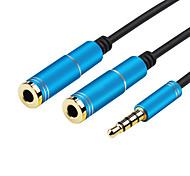 3,5 мм разъем для наушников стерео микрофон аудио 1 штекер 2 женский у сплиттер кабель ADAPTE для портативных ПК телефона таблетки (0,28 м