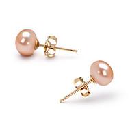 14k Gold Pink 6.5 - 7mm AAA Freshwater Pearl EarringImitation Diamond Birthstone
