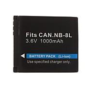 1000mAh 3.7V digitalkamera batteri NB-8L för Canon PowerShot A3100, A3000, är