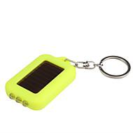 태양 전원 공급 하얀 빛 3 LED 열쇠 고리 후레쉬 (노란색)