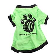 개 티셔츠 그린 강아지 의류 여름 문자와 숫자 캐쥬얼/데일리