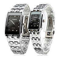 Pair of Alloy Analog Quartz Couple's Watches (Silver)
