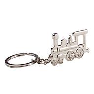 porte-clés en métal argenté de train