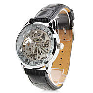Men's PU Analog Mechanical Wrist Watch with Hollow Engraving (Black)