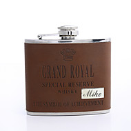 Personlig gave Brown 5 ounce PU Læder Flask