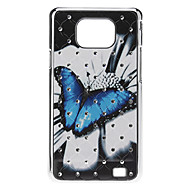 Butterfly Pattern Hard Case with Rhinestone for Samsung Galaxy S2 I9100