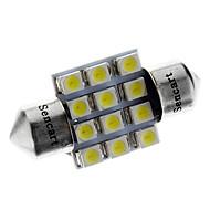31 milímetros 1W 50LM 12x3528SMD 6000-6500K White Light Bulb para carro (12V) LED
