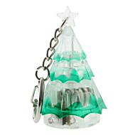Porte-clés en forme d'arbre de Noël en plastique avec LED et voix