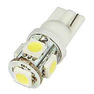 Media T10 2W 50lm 5-SMD LED Bil White pærer - Pair (DC 12V)-LEDD004T10A5S1