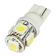 Media T10 2W 50LM 5-SMD LED Auto Valkoinen lamput - Pari (DC 12V)-LEDD004T10A5S1