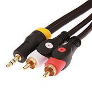 jsj® 1,8 m 5,904 fot 3,5 mm stereo hann til to rca hann lydkabel - svart
