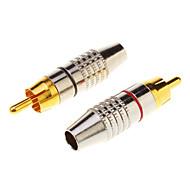 1 coppia RCA Plug Audio Cable Connettore maschio Oro Adapter