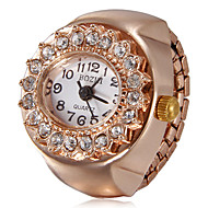 Women's Diamante Round Dial Rose Gold Alloy Quartz Analog Ring Watch Cool Watches Unique Watches