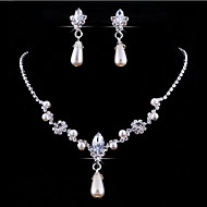 Zestawy biżuterii Naszyjniki z wisiorkami Kwiaty Osobiste Europejski Perłowy Kryształ Kryształ górski Imitacja diamentu Stop Kropla