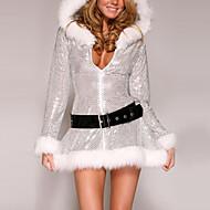 Noël robe à capuchon Furry des femmes argent