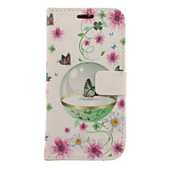 Butterflies and Flowers Drawing Pattern Faux Leather Hard Plastic Cover Pouches for Samsung Galaxy S3 I9300