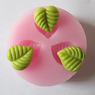 Tre fori Foglia Foglie muffa del silicone del fondente di zucchero Craft Stampo Strumenti resina fiori stampo per torte