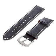 Heren 25mm lederen horloge band (Zwart)