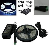 5M 300x5050 SMD valkoinen LED Strip valo ja liitin ja AC110-240V to DC12V6A Transformer