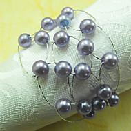 Mesh Akryl Pärlor Servett Ring, Dia4.2-4.5cm Set med 12